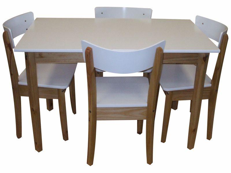 Juego combinado comedor laqueado con 4 sillas italianas y mesa 1.20 ...