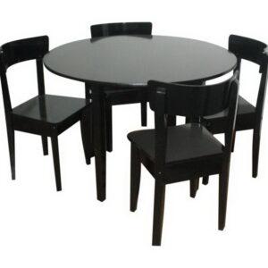 Mesa redonda 1.20m con 4 italianas laqueado wengue
