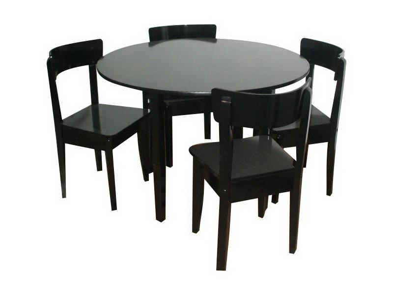 Mesa redonda de base 4patas con 4 sillas mod for Mesas comedor italianas
